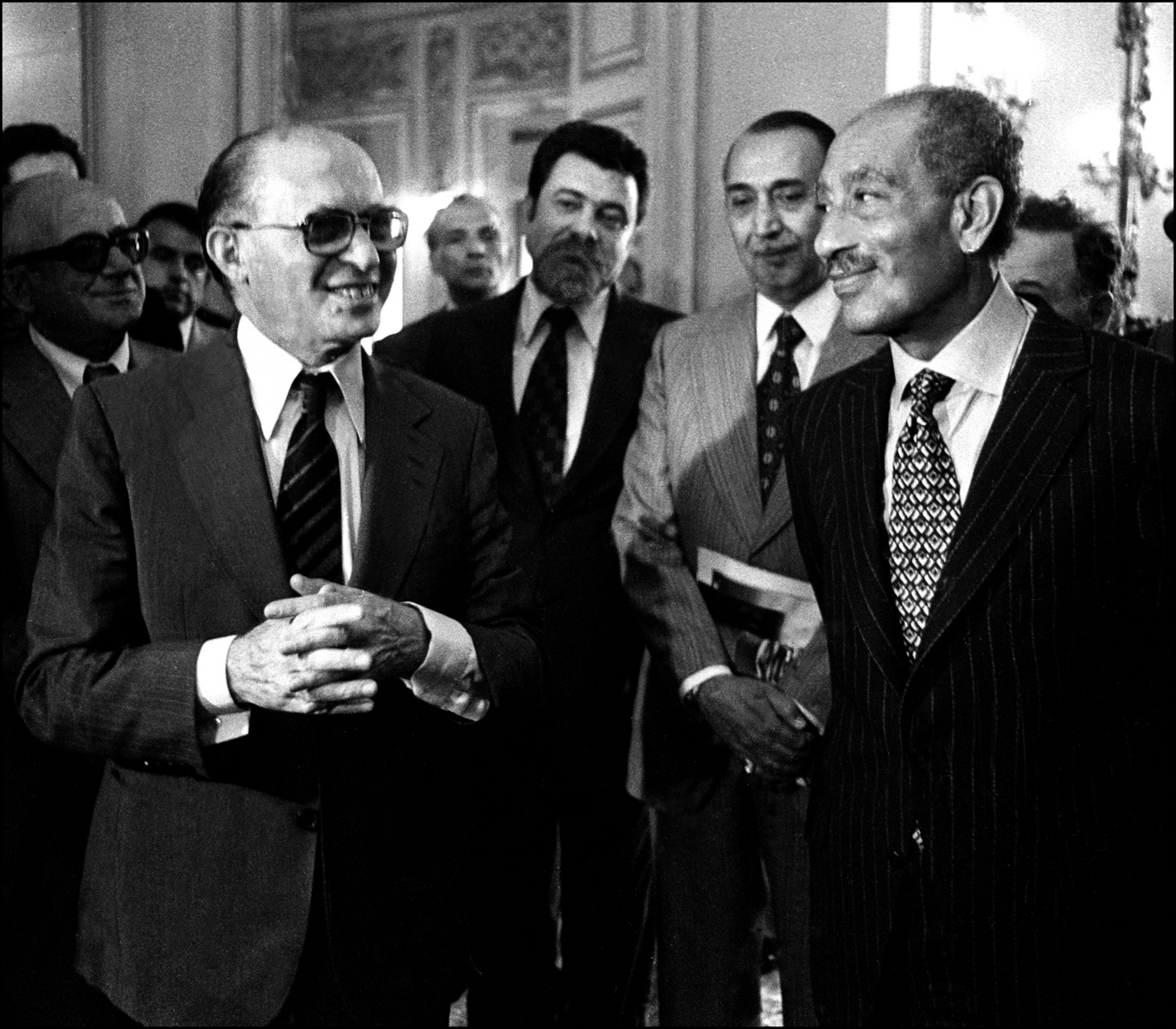 Sadat and Begin are all smiles at the end of their press conference. : Sadat-Mubarak 1978-1981 : BILL FOLEY