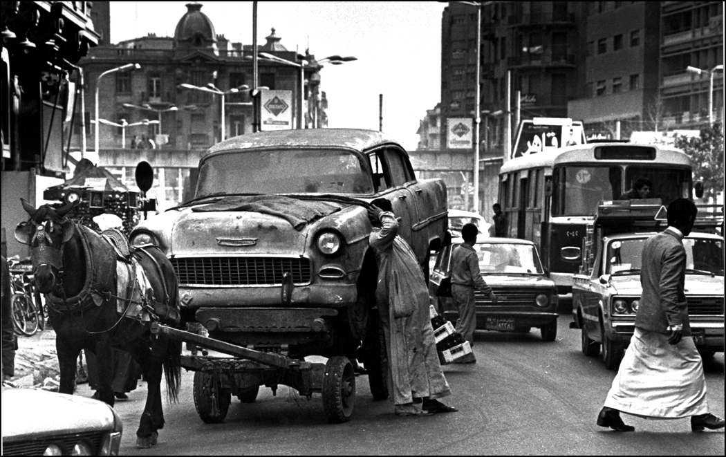 "56 Chevy Being ""towed"" downtown Cairo 1979 : Egypt 1978-2018 : BILL FOLEY"