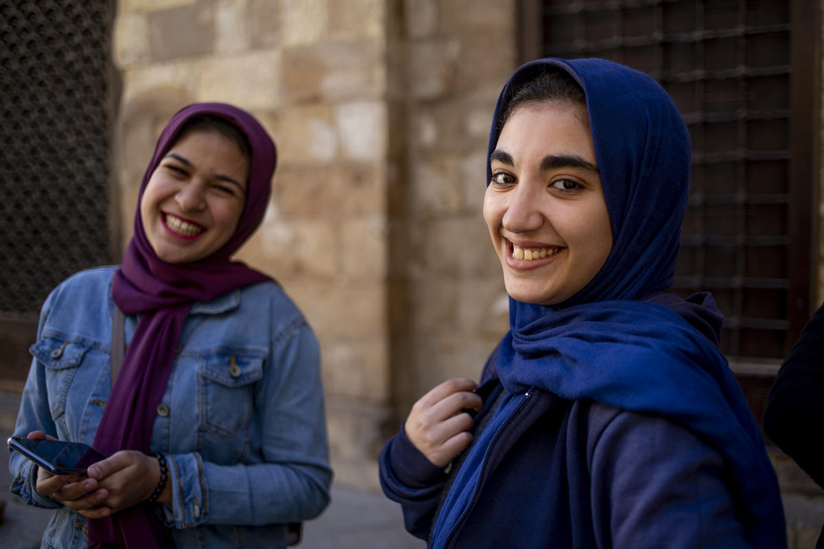 Egyptian High school students smile as they pose in Cairo. : Egypt 1978-2018 : BILL FOLEY