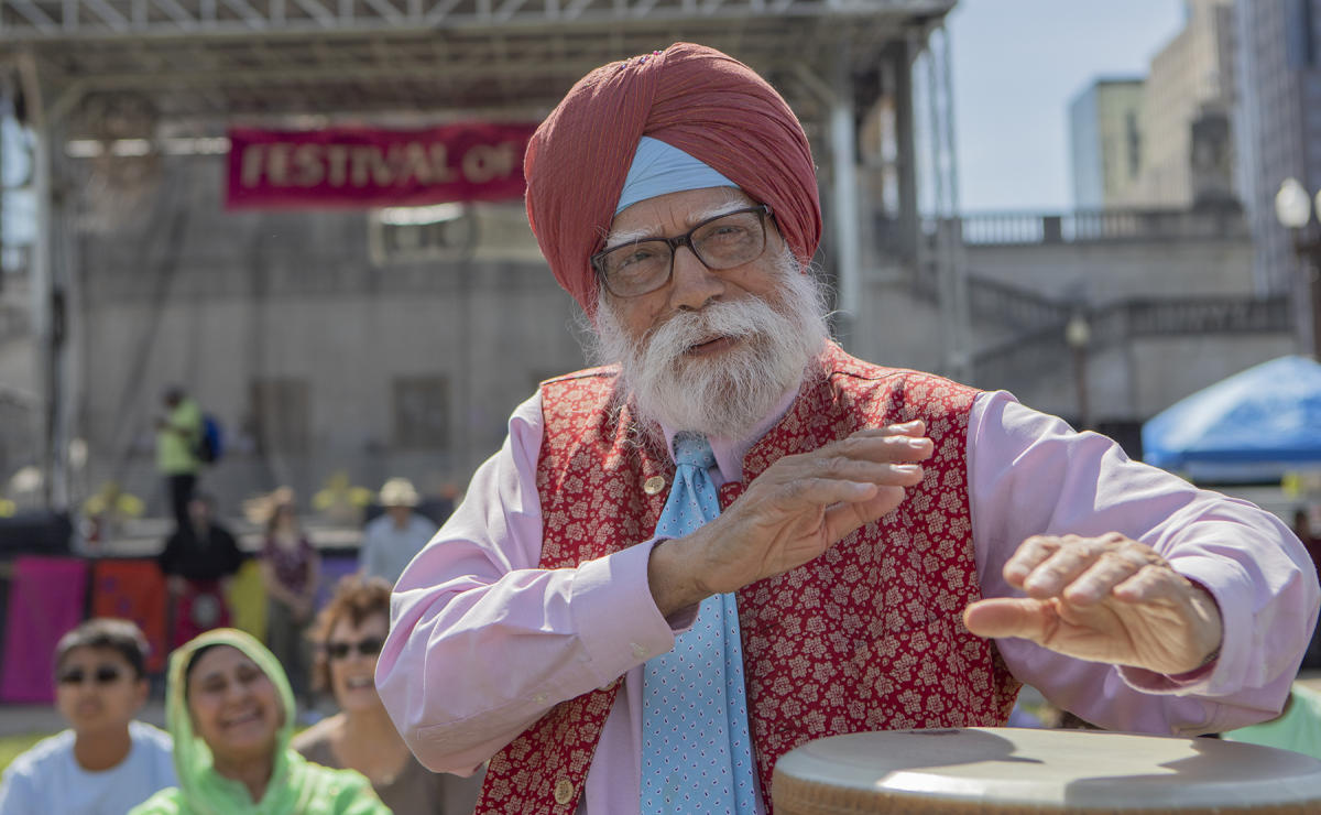 KP Singh plays the bongo drum. : Festival Of Faith, Downtown Indianapolis 2019 : BILL FOLEY