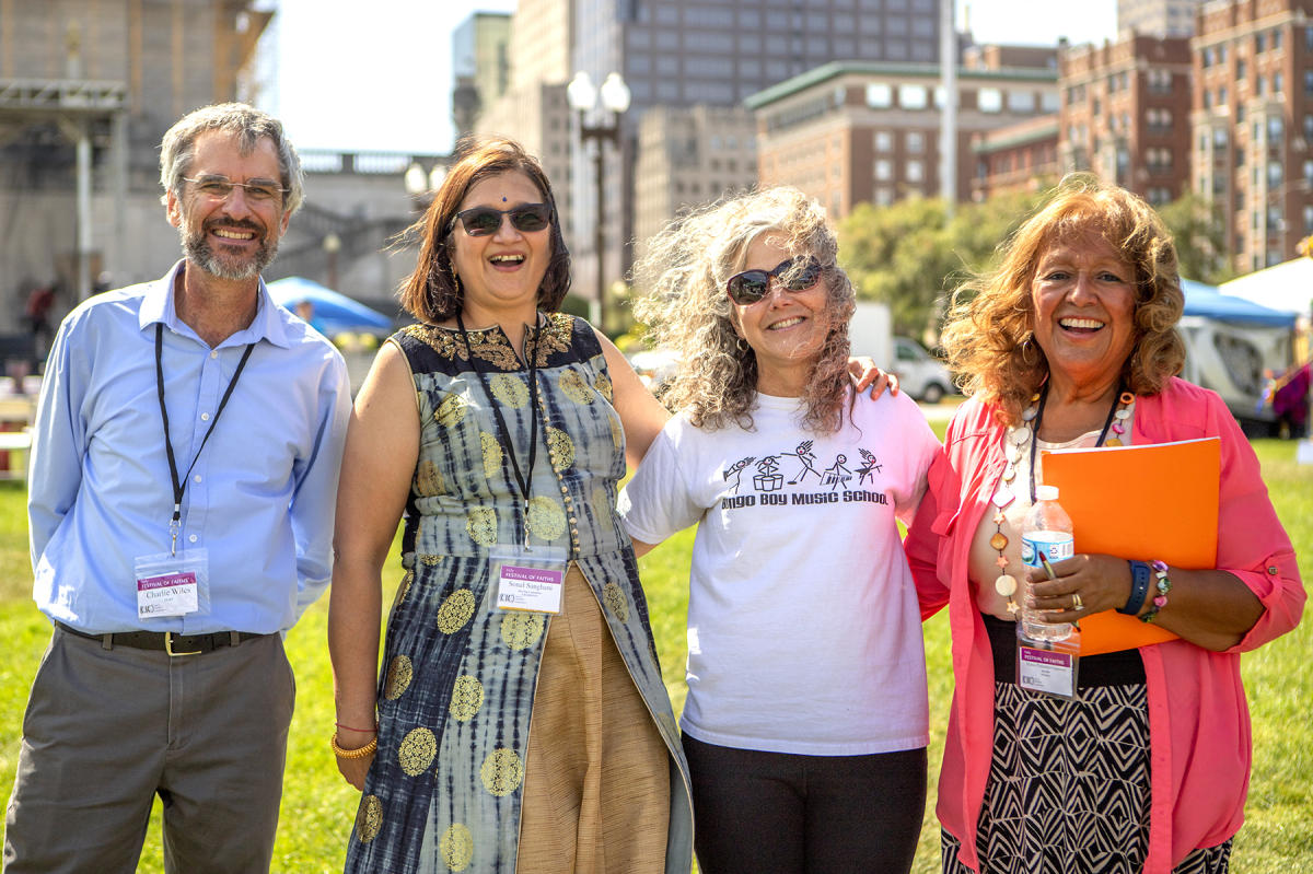 CIC Director Charlie Wiles with Sonal Sanghani, Lisa Colleen, Bongo leader and Maria Pimental Gannon : Festival Of Faith, Downtown Indianapolis 2019 : BILL FOLEY