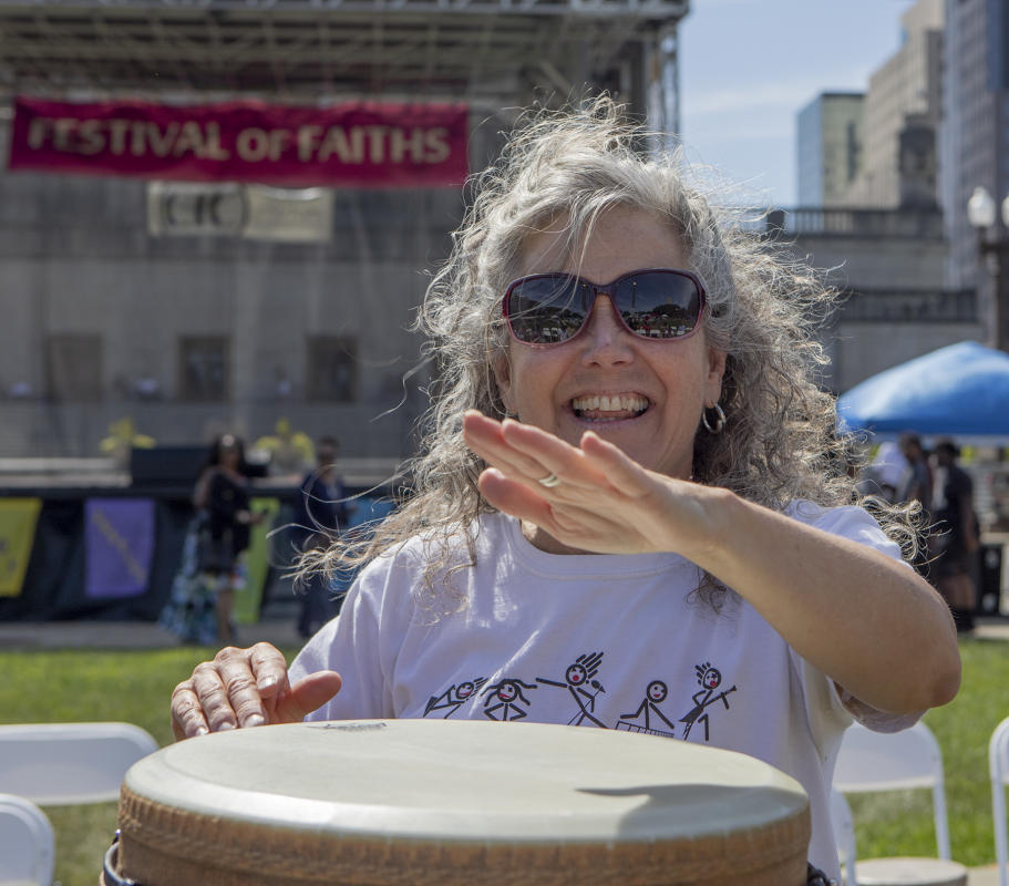 Lisa Colleen, Bongo drum leader! : Festival Of Faith, Downtown Indianapolis 2019 : BILL FOLEY
