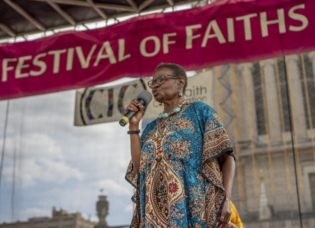 Reverend Delores Thornton speaks to people attending the  : Festival Of Faith, Downtown Indianapolis 2019 : BILL FOLEY